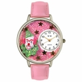 Pink Glitter Clown Watch in Silver Unisex U 0210009