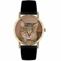 Pixie Bob Cat Print Watch in Gold Classic P 0120053