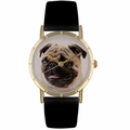 Pug Print Watch in Gold Classic P 0130061