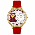 Red Star Clown Watch in Gold or Silver Unisex G 0210008