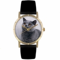 Russian Blue Cat Print Watch in Gold Classic P 0120029