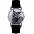 Russian Blue Cat Print Watch in Silver Classic R 0120029