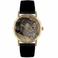 Scottish Fold Cat Print Watch in Gold Classic P 0120031