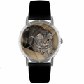 Scottish Fold Cat Print Watch in Silver Classic R 0120031