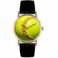 Softball Lover Print Watch Classic Gold Style P 0840003