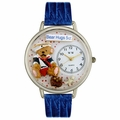 Teddy Bear Hugs Watch in Silver Unisex U 0230002