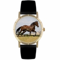 Thoroughbred Horse Print Watch in Gold Classic P 0110032