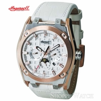 Ingersoll IN1207RWH  Mens White Automatic Leather Watch