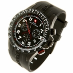 Swiss Chronograph Rubber Strap Designer Watch Black