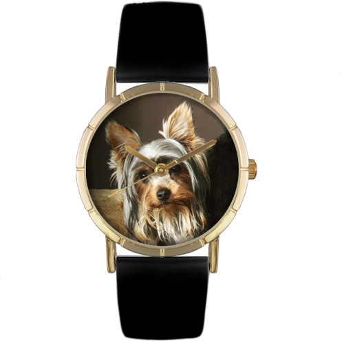 Yorkie Print Watch in Gold Classic P 0130077