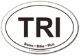 TRI Swim Bike Run Oval Car Magnet