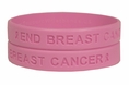 """End Breast Cancer"" Pink Rubber Bracelet Wristband"