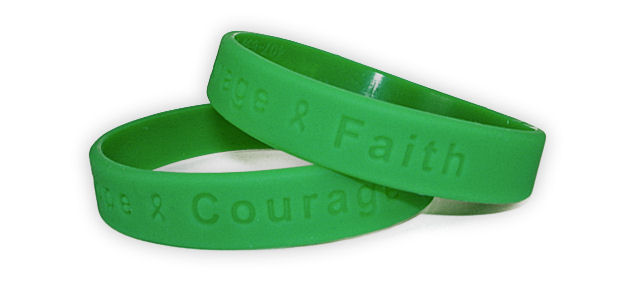 """Hope Courage Faith"" Green Rubber Bracelet Wristband"