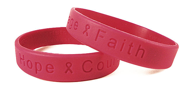 """Hope Courage Faith"" Red Rubber Bracelet Wristband"