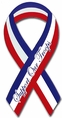 Support Our Troops Ribbon Car Magnet - Script Font - Red, White and Blue