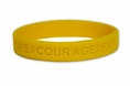 """Hope Courage Faith"" Yellow Rubber Bracelet Wristband - Adult 8"""