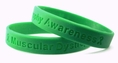 """Muscular Dystrophy Awareness"" Green Rubber Bracelet Wristband - Adult 8"""