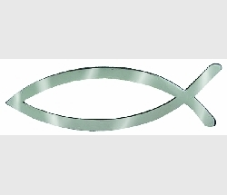 Christian Fish Chrome Look  Emblem - Magnetic