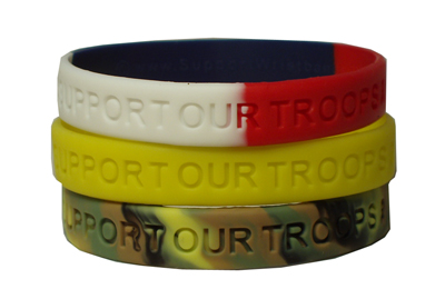 """Support our Troops"" Rubber Bracelet Wristbands"
