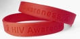 HIV Awareness Red Rubber Wristband - Adult 8""