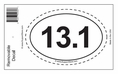13.1 Half Marathon Bumper Sticker Decal - Oval