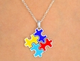 Autism Awareness Puzzle Piece Pendant Necklace
