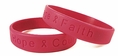 """Hope Courage Faith"" Red Rubber Bracelet Wristband - Large 8"""