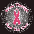 Pink Break Through...Find The Cure!  Static Window Cling