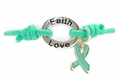 Teal Awareness Stretch Charm Bracelet