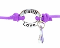 Purple Awareness Stretch Charm Bracelet