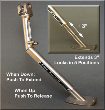 SideKicker Quick Adjustable Side Stand with Enlarged Foot for BMW R1200GS, R1200GSA, & F800GS