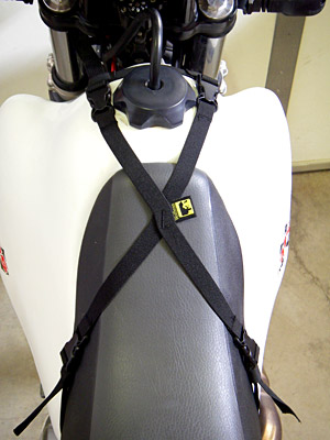 Small X Strap for Enduro Pocket Bag or Enduro Tank Bag by Wolfman Luggage. MADE IN USA. LIFETIME WARRANTY.