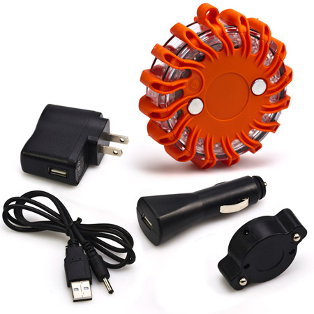 Rechargeable Safety Puck 9 in 1 LED Magnetic Electric Flare & Flashlight with Wall Outlet and Cigarette Chargers