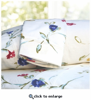 Floral Garden Printed Deep Pocket Flannel Sheet Set