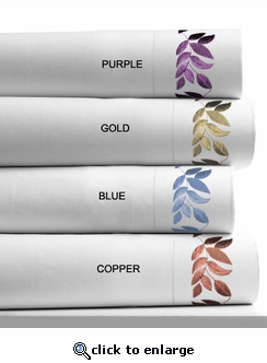 Leaf Embroidered 400 Thread Count Cotton Extra Deep Pocket Sheet Set by Tribeca Living