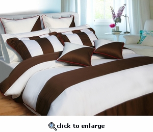 "Tribeca Living ""Chocolate & White"" Egyptian Cotton Duvet Cover Set with Cushion Covers"
