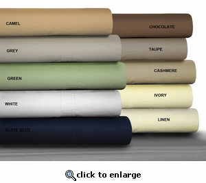 Tribeca Living Egyptian Cotton Percale 475 Thread Count Extra Deep Pocket Sheet Set