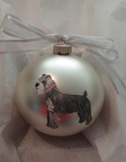 Miniature Schnauzer Uncropped Hand Painted Christmas Ornament