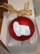Komondor Hand Painted Christmas Ornament