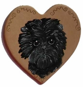 Affenpinscher Hand Painted Heart Pin