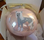 Chinese Crested Hand Painted Christmas Ornament