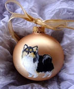 Chihuahua-Long Coat Hand Painted Christmas Ornament
