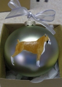 Boxer Hand Painted Christmas Ornament