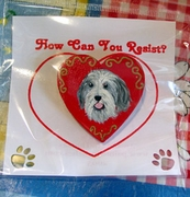 Bearded Collie Hand Painted Pin