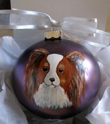 Papillon Head Hand Painted Christmas Ornament