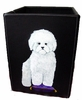 Bichon Hand Painted Leather Bin