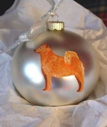 Finnish Spitz Hand Painted Christmas Ornament