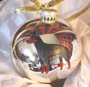 Manchester Terrier Hand Painted Christmas Ornament