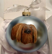 Pekingese Hand Painted Christmas Ornament