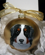 Bernese Mountain Dog Head Hand Painted Christmas Ornament